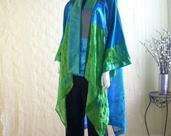 Kimono Cardigan/Bohemian Jacket/Patchwork Kimono/Free Size/Green and Turquoise by Brenda Abdullah