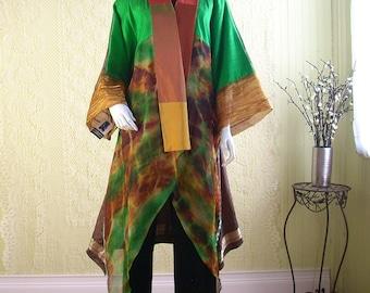 Silk Kimono/Patchwork Kimono/Bohemian Jacket/Tie Dye/Indian Sari/Free Size to XXL/Wearable Art Kimono by Brenda Abdullah