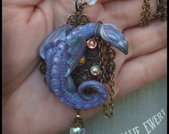 Dragon NECKLACE & BROOCH Pin, Polymer Clay Baby Animal Jewelry Miniature Pendant Fantasy Creature Tiny Sleeping Daenerys Game of Thrones