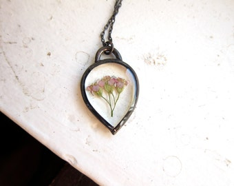Mini Pressed Yarrow Necklace ||| In the Looking Glass / Pressed Flower Pendant
