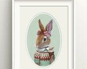 "Bunny Art, Rabbit with Carrot Cupcake Painting, Fair Isle Sweater Print, Forest Animal Fine Art Print, ""Ester"""