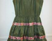 green full circle skirt dress