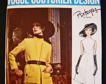 1960s Dress Pattern Vogue Couturier Pattern Pertegaz of Spain size 14 Sleeveless A Line Dress Short Jacket Vintage Sewing Pattern