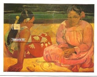 Vintage French Paul GAUGUIN Puzzle Phonecard- FEMMES de TAHITI Orsay Museum -1993 Mint french telecarte original Blister- back French print-