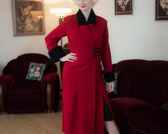 1930s Vintage Coat - Stunning Lipstick Red Wool Boucle Late 30s Coat with Black Faux Persian Lamb Fur Cuffs and Collar