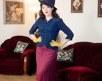 Vintage 1950s Jacket - Silky Navy Blue New Look Early 50s Jacket or Blouse with Layered Ruffled Peplum