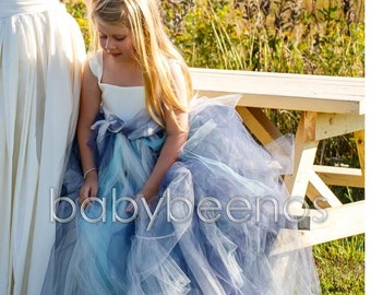 Tulle Flower girl dress, flower girl dress, Tulle ballgown - OCEAN - Girls Dress, Blue Flower girl dress, flower girl dresses