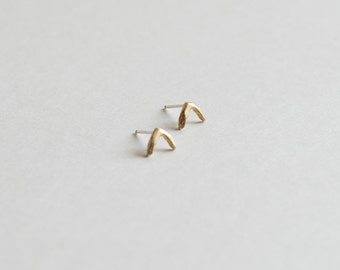 Fishbone Studs, Cast Bronze, Sterling Silver Small Studs, Arc Studs
