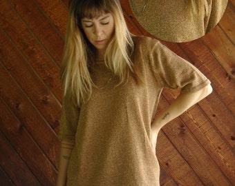 Gold LUREX Knit Metallic Pullover Sweater - Vintage 80s 90s - MEDIUM