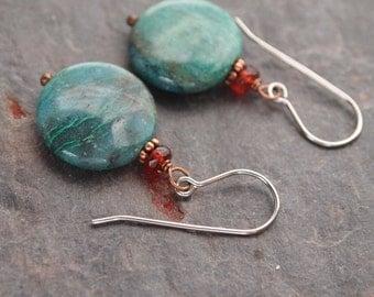 Garnet and Chrysocolla Earrings