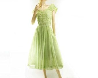 Vintage Tea Dress, 1950s Prom Dress, Spring Green Dress, 50s Tea Length Dress, 50s Organdy Dress, Sheer Pastel Dress, Ruched 50s Dress, xs