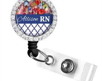 Blue Floral ID Badge, Nurse Retractable Badge Reel, Personalized Badge Reel (650)