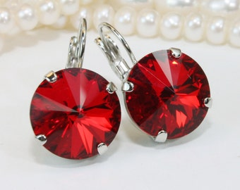 Red Drop Earrings Deep Red Earring Valentine's Gift Swarovski Crystal Red Christmas Earrings Red wedding,14mm Rivoli,Light Siam,Silver,SE106