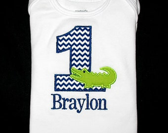 Custom Personalized Applique Birthday Number ALLIGATOR and NAME Shirt or Bodysuit - Navy Blue Chevron Stripe and Lime Green