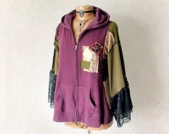 Bohemian Hoodie Hippie Chic Clothing Festival Jacket Plus Size Clothes Zip Hood Jacket Bell Sleeves Loose Fit Upcycled Women L XL 1X 'MILLIE