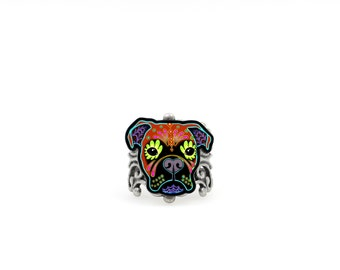 Boxer Ring - Day of the Dead Sugar Skull Dog - Adjustable Band - Dia de los Muertos