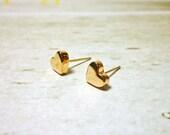 Gold Heart Stud Earrings, Dainty Earrings