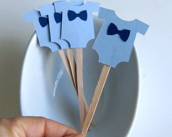 12 Baby Bodysuit or Romper with Bow Tie Cupcake Toppers, Party Picks or Skewers