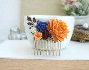 Orange Flower Comb, Cobalt Blue Comb, Burgundy, Ivory, Cobalt Blue Flower Hair Comb Orange Flower Blue Wedding Bridesmaid Gift Wedding Comb