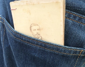 mini bust of 1900s man with mustache hand made repurposed antique portrait plate coptic stitch art journal notebook sketchbook diary