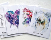 Winter/ Christmas collection : Set of 6 5X7 art greeting cards - illustrations by Holly Sharpe