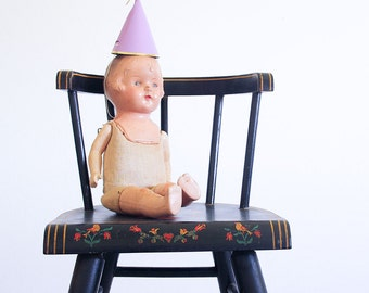 Antique Child's Chair / Hand Painted / Primitive Decor