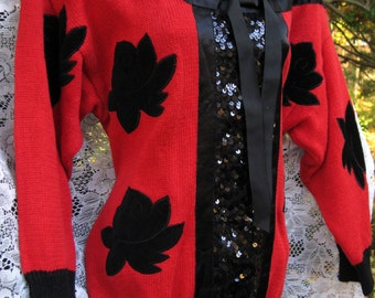 Larger Cotton Ramie Sequined TUXEDO style SEQUIN Red Sweater Black Red Sequined Sweater made 1989 sequin, 1980s 80s sweater top