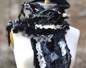 Cashmere long black white SCARF Shawl Wrap, romantic boho textured OOAK  wearable art accessory