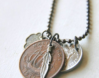 Hipster Unisex Coin Necklace Sterling Silver Feather Ball Chain  - The Collector IV.
