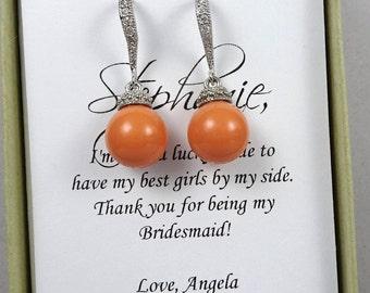 Coral Pearl Earrings, Orange Pearl Earrings, Bridesmaid Gift Earrings, Wedding Earrings, Bridal Earrings, Swarovski Coral Pearl Earrings,