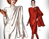 1980s Vogue 7635 Uncut (14-18) Misses Dress Pattern Straight Shoulder Drape Cocktail 1989 Very Easy Womens Vintage Sewing Pattern UNCUT 80s
