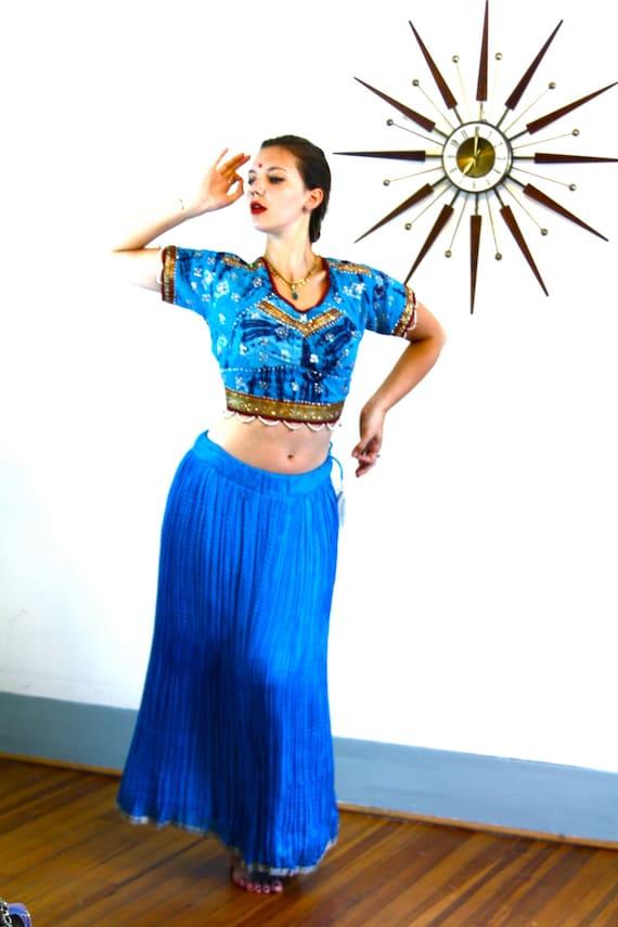 Vintage Indian Silk Gypsy Skirt/ Bright blue Silk Skirt/ Long Ethnic Bohemian Skirt/ Hippie Boho Belly Dance Skirt/ Electric Jewel Blue Silk