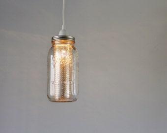 mason jar pendant lighting. Mason Jar Pendant Light Half Gallon With Silver Metal Shade Hanging Lamp Lighting