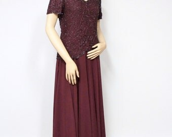 Dress Gown Vintage 1990's Evening Gown Formal Party Dress Burgandy Beaded Prom Wedding Full Skirt Size Small