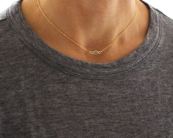 Aqua Gold Choker necklace - delicate short gold layering necklace and chalcedony gemstone