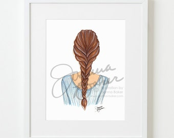 Braided Brunette Fashion Illustration Art Print / Fashion Illustration Sketch, Fashion Sketch Art, Fashion Art Print, Fashion Wall Art