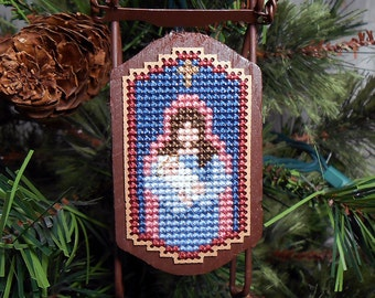 Mary and Baby Jesus Christmas Tree Ornament - Foxwood Crossings - Cross Stitched Sled Holiday Ornament - Free U.S. Shipping