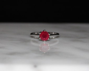 Ruby Engagement Ring, July Birthstone, Ruby Solitaire,Appraisal Included
