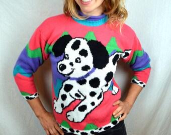 Vintage 80s Puppy Dog Knit Sweater