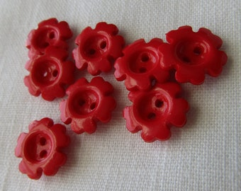 Sweet Poppy Red Flower Buttons Cottage Chic