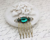 Emerald Small Hair Comb in Antique Brass