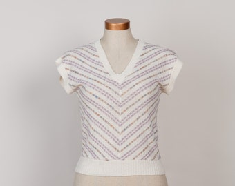 Vintage Linen Blend Chevron Knit Shirt - 1970s Pastel Short Sleeve Sweater Top - S / M