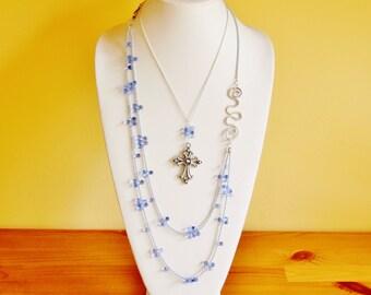 Reclaimed cross pendant necklace, long cross necklace, multi strand necklace, religious necklace, faith jewelry, catholic necklace, OOAK
