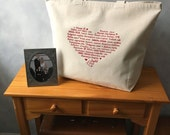 "CLEARANCE ~ LOVE Languages Tote Bag - Red on Natural - The Big Cozy Tote Bag - Canvas Bag -  More info in ""Item Details"""