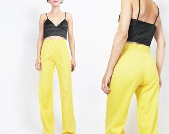 1970s Yellow Pants Vintage 70s Bell Bottoms Flared Leg Pants High Waist Pants Womens Yellow Trousers Lemon Disco Palazzo Pants (XS)