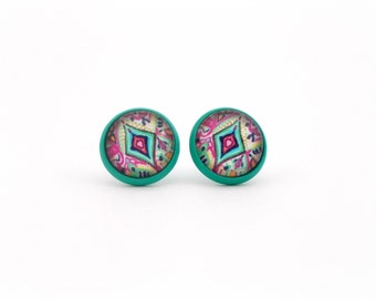 Aztec Earrings, Teal Blue and Pink, Colorful Earrings, Tribal Earrings, Tribal Jewelry, Big Stud Earrings, Gift for Teen Girl, Gift Under 20