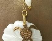 Lariat Necklace Brass Sea Turtle