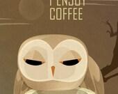 Owl Enjoys Coffee