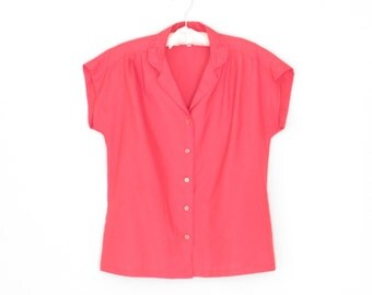 Vintage Blouse * Pink Blouse * 80s Funnel Sleeve Shirt * Medium - Large