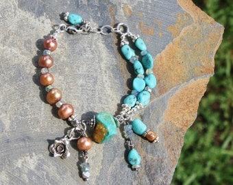 Handmade Large Turquoise & Pearl Bracelet, OOAK Boho Chic, Rustic Wearable Art, Extreme Dangles Handcrafted Artisan Sterling Silver Bracelet